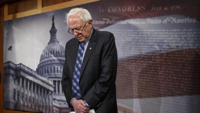 Senate Veterans Affairs Committee Chairman Sen. Bernie Sanders, I-Vt., stands in defeat